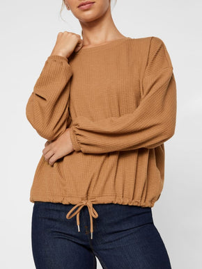 Textured Sweater With Drawstring