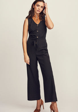 Sleeveless Striped Jumpsuit With Buttons