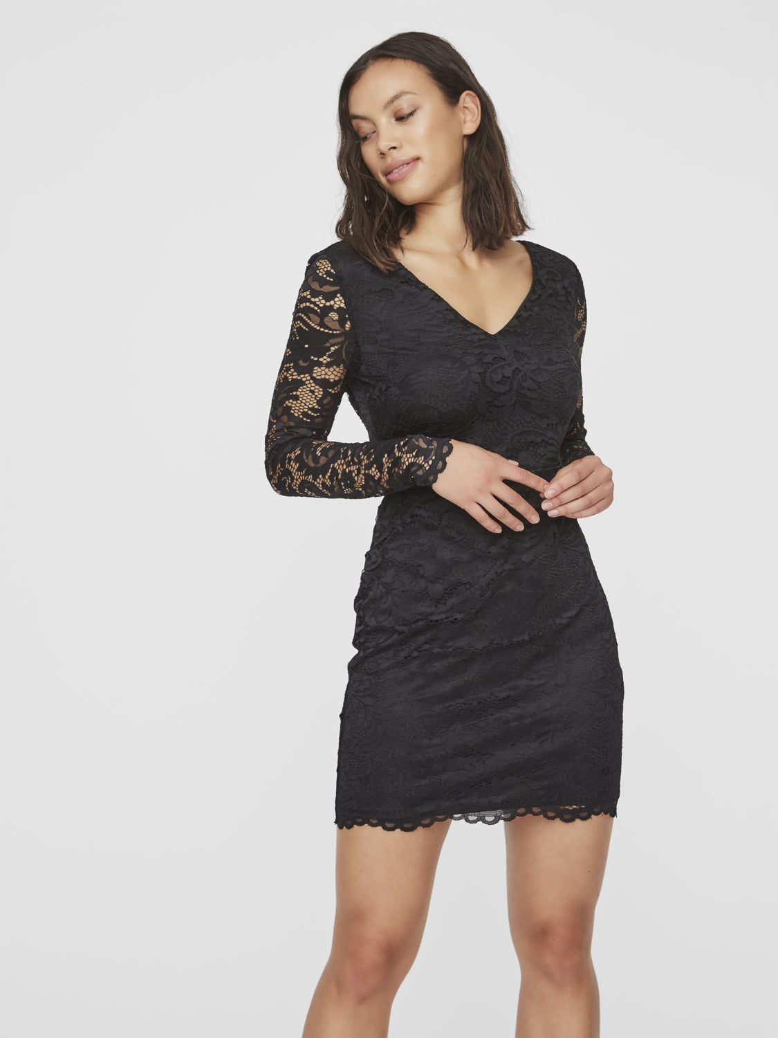 DORA LACE LONG SLEEVE SHORT DRESS