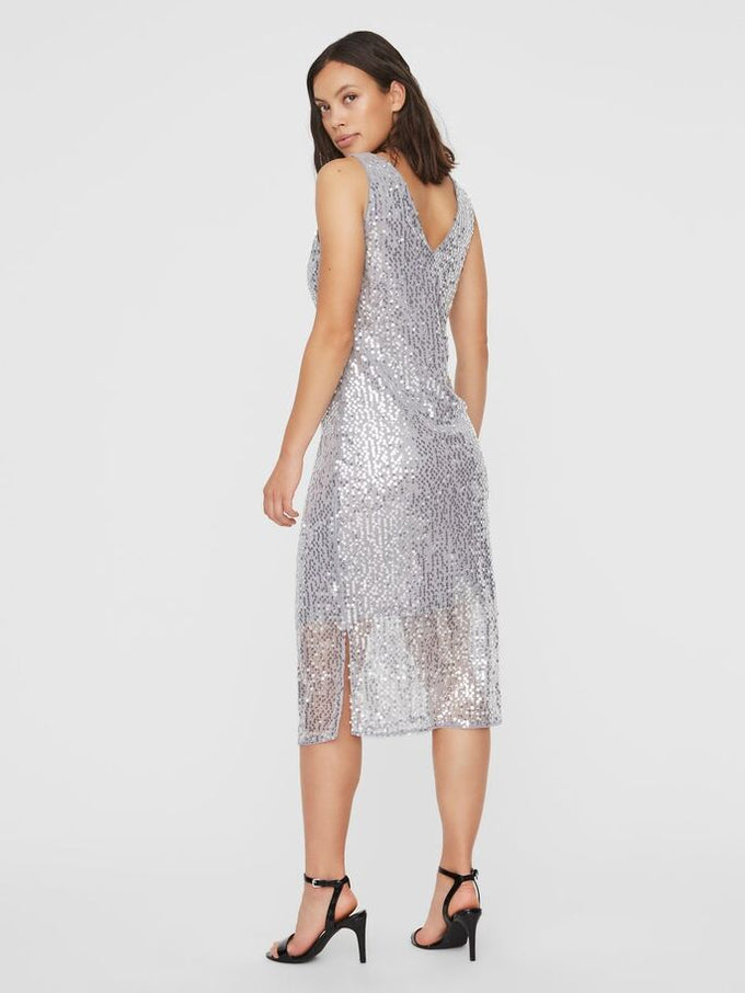 DAISY SLEEVELESS MIDI DRESS Silver Sconce