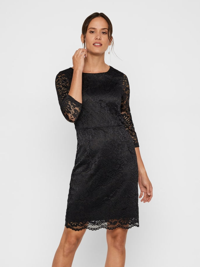 STELLA 3/4 SLEEVE LACE DRESS Black