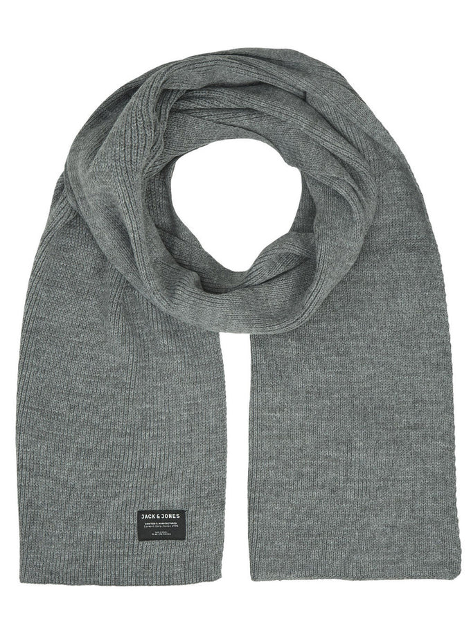 ACRYLIC KNITTED SCARF GRAY MELANGE