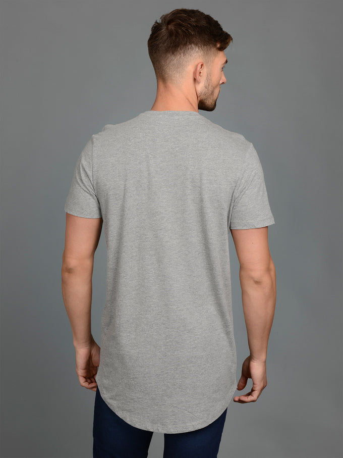 NOA BASIC LONG FIT T-SHIRT Light Grey Melange