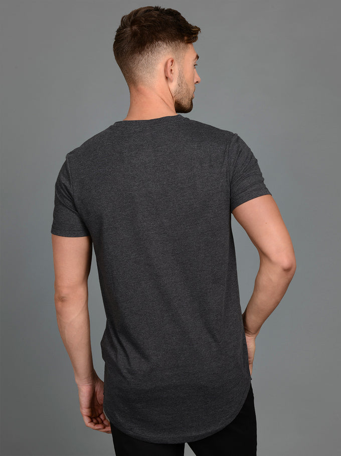 NOA BASIC LONG FIT T-SHIRT Dark Grey Melange