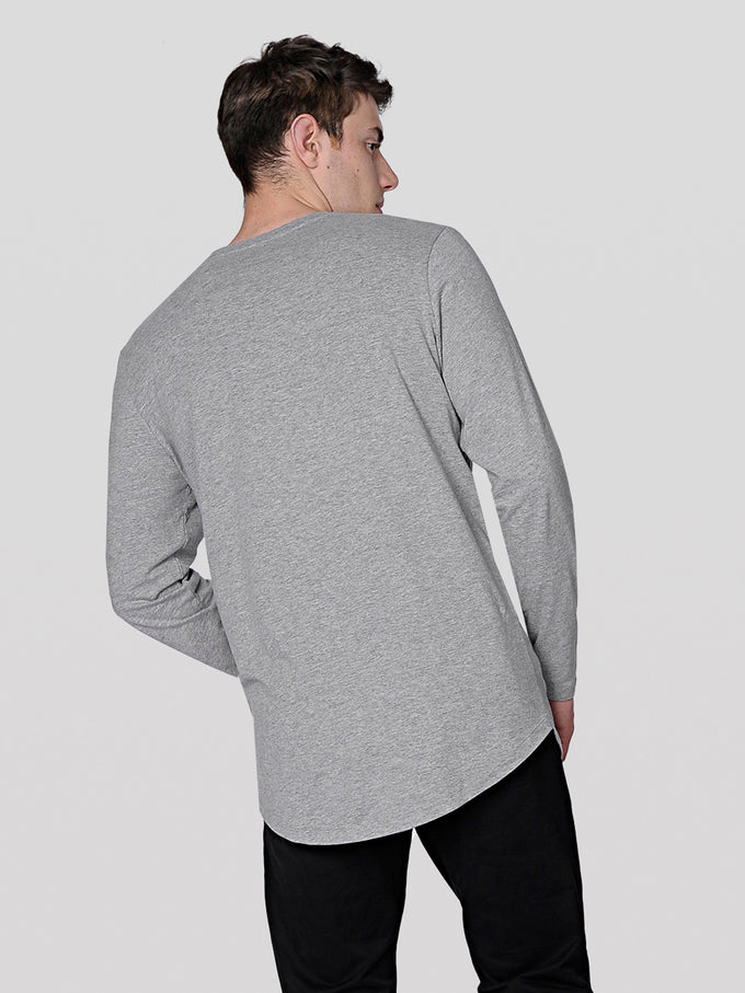 NOA BASIC LONG FIT LONG SLEEVE T-SHIRT LIGHT GREY MELANGE