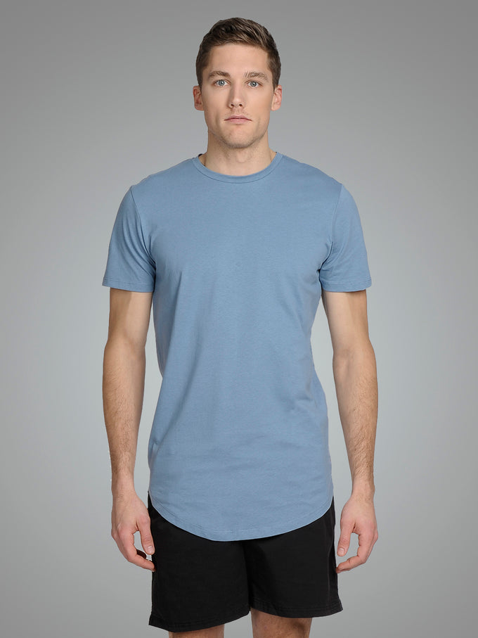 LONG CURVED T-SHIRT Blue Shadow