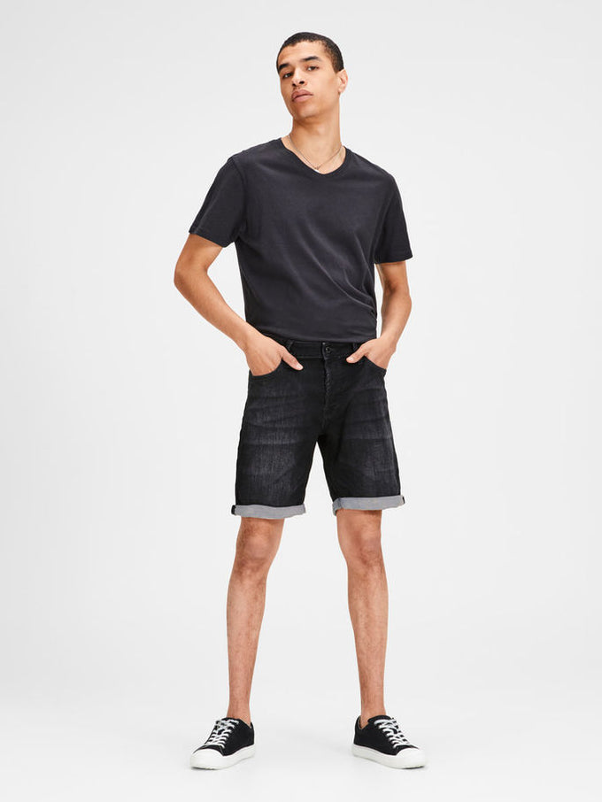 INDIGO KNIT STRETCH BLACK DENIM SHORTS Black Denim