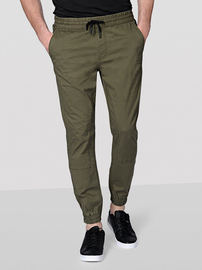 BASIC JOGGER PANTS WITH ZIPS Olive Night