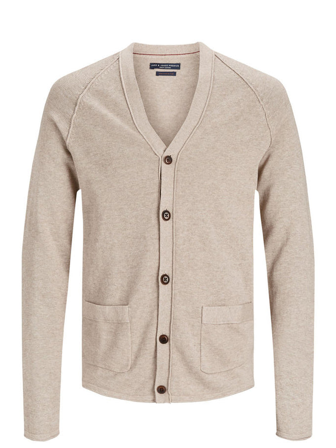 PREMIUM BUTTON-DOWN CARDIGAN Oatmeal