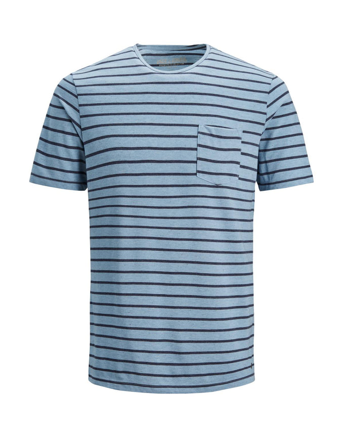 PREMIUM STRIPED T-SHIRT WITH POCKET Faded Denim