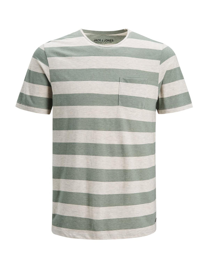 PREMIUM STRIPED T-SHIRT WITH POCKET Lily Pad