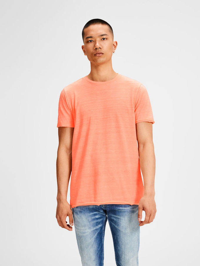 TONE-ON-TONE LONG FIT ORIGINALS T-SHIRT Neon Peach