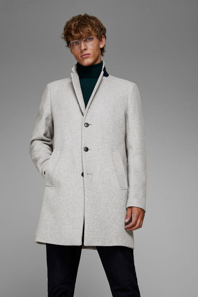 WOOL DRESS COAT Light Grey Melange