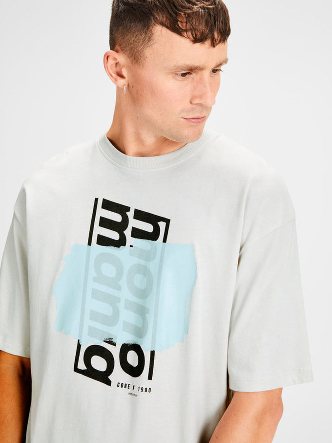 OVERSIZE T-SHIRT WITH PRINTED CORE DETAILS Glacier Gray