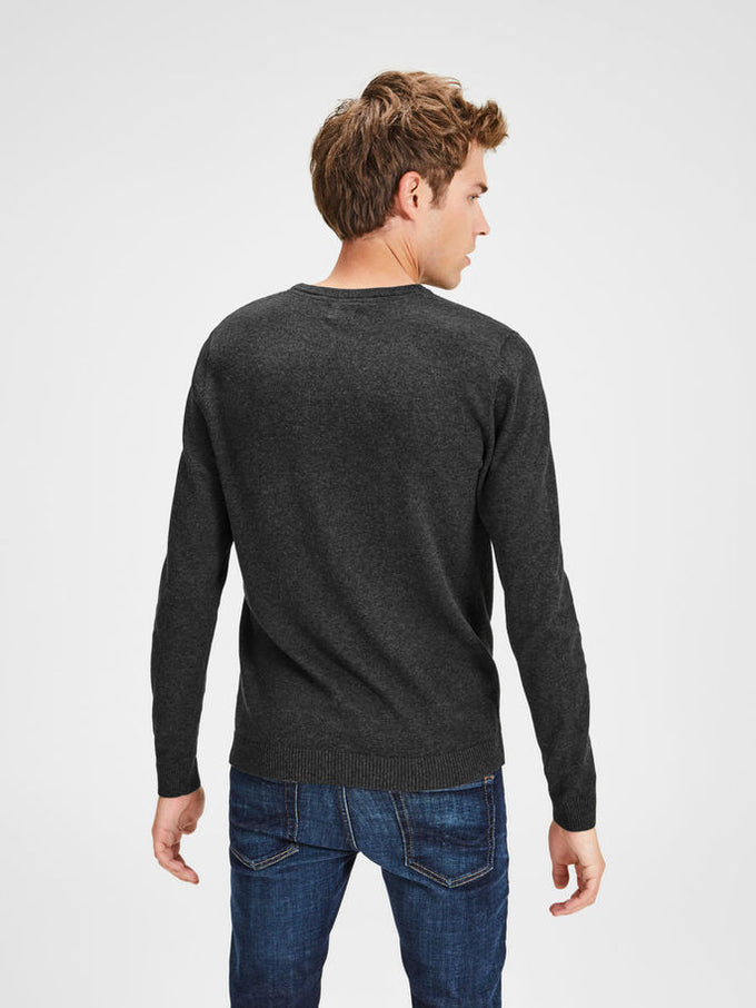 LIGHTWEIGHT ESSENTIAL SWEATER Dark Grey Melange