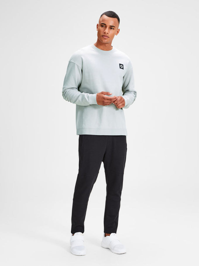 SWEATSHIRT WITH RIBBED SLEEVES Glacier Gray