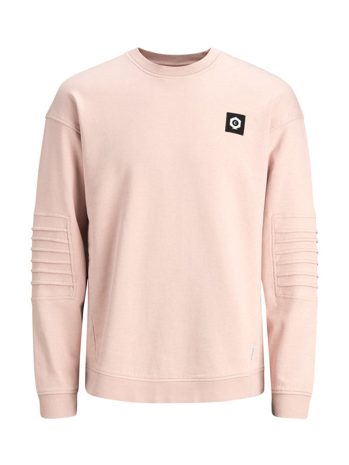 SWEATSHIRT WITH RIBBED SLEEVES Rose Dust