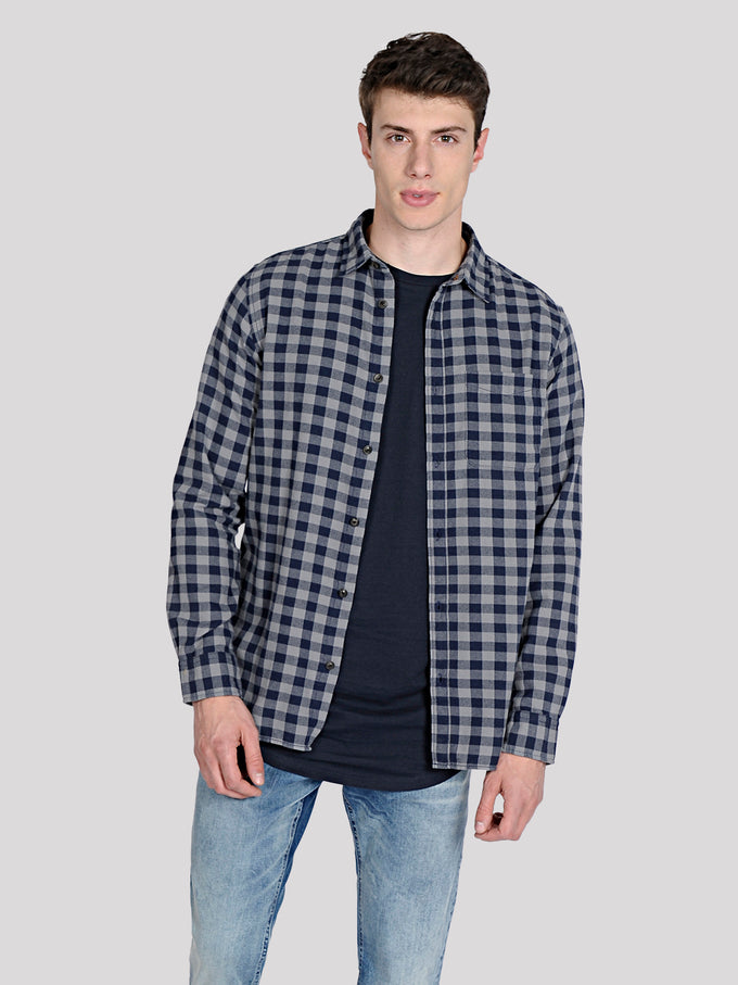 FLANNEL STYLE GINGHAM SHIRT Total Eclipse