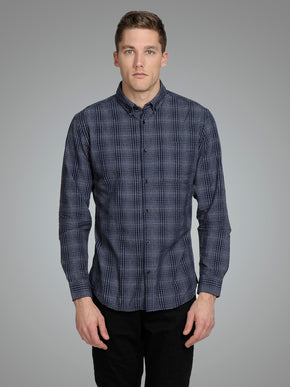 CHECKERED SLIM FIT TEXTURED SHIRT