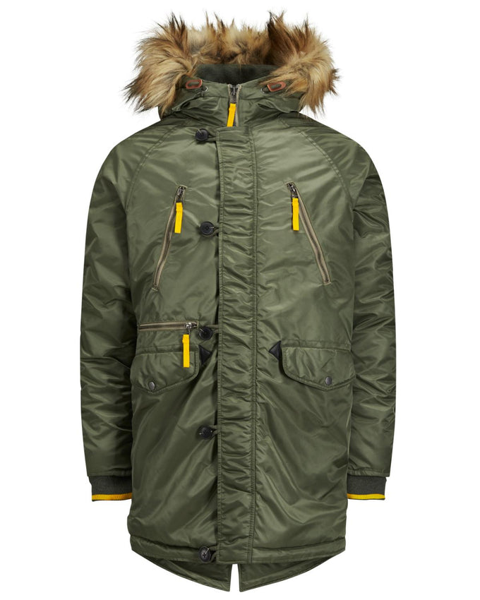ORIGINALS PARKA WITH FAUX-FUR HOOD Dusty Olive