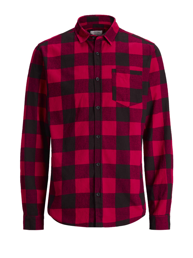 CLASSIC CHECKERED FLANNEL SHIRT Fiery Red