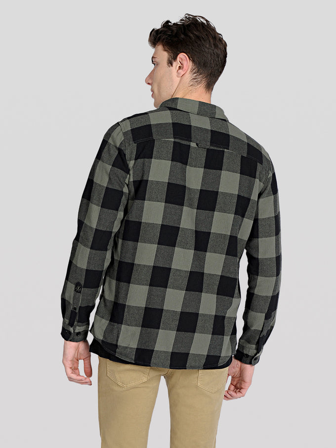 CLASSIC CHECKERED FLANNEL SHIRT Dusty Olive