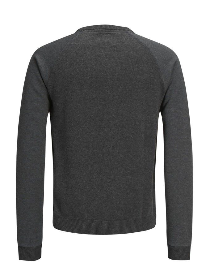 SWEATER WITH CONTRAST SLEEVES Dark Grey Melange