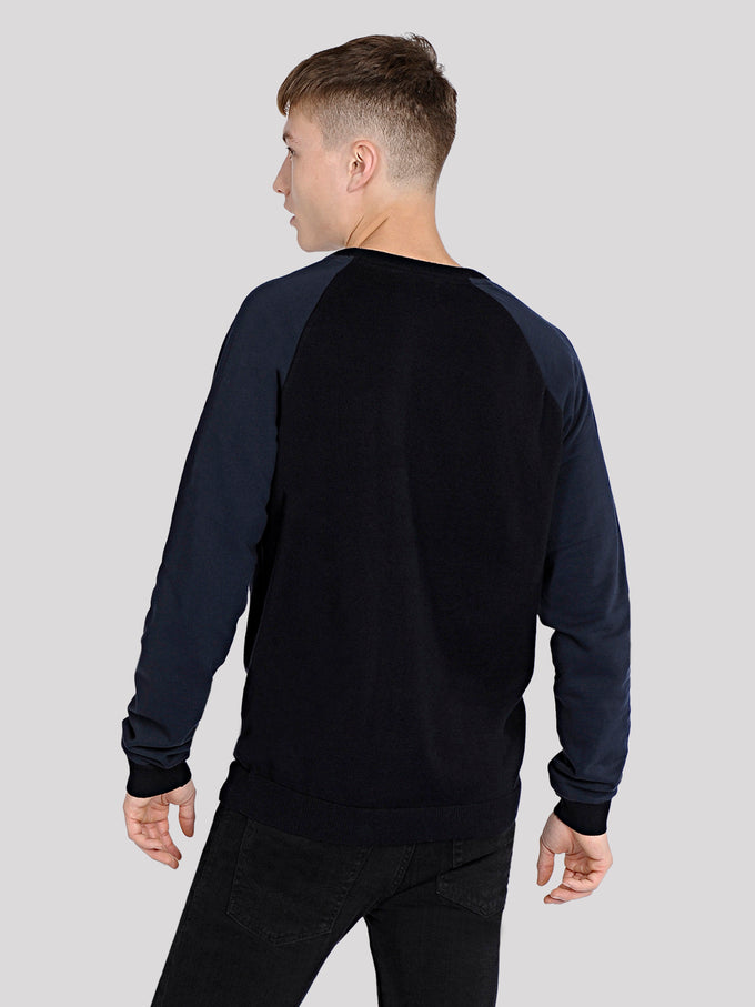 SWEATER WITH CONTRAST SLEEVES Sky Captain