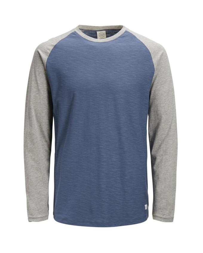 SLIM FIT BASEBALL LONG SLEEVE T-SHIRT Vintage Indigo