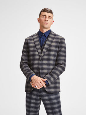 WOOL BLEND CHECKERED BLAZER