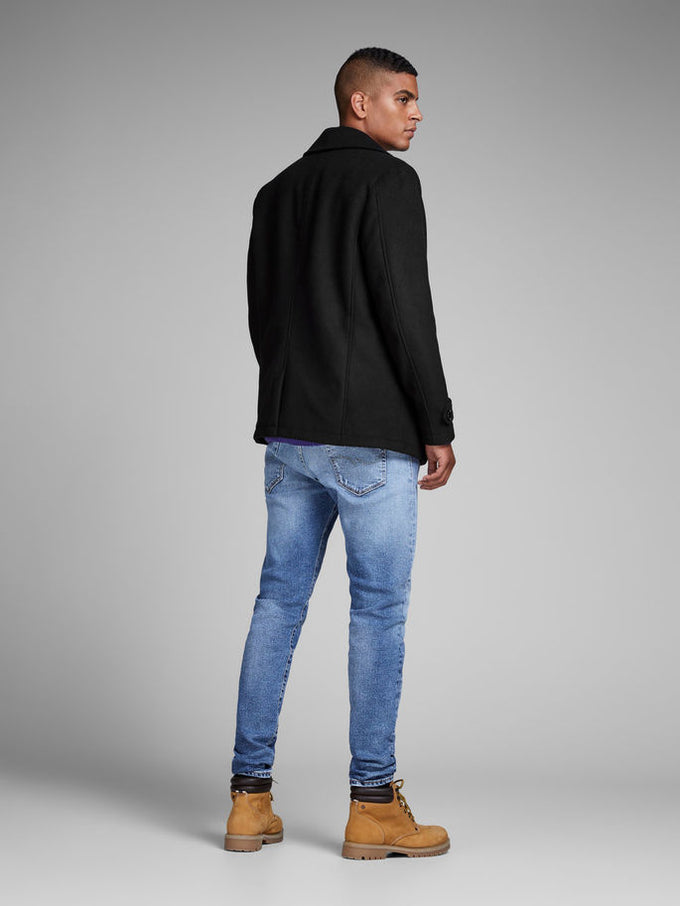DOUBLE-BREASTED WOOL PEACOAT Black