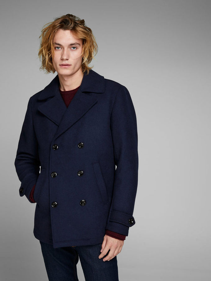 DOUBLE-BREASTED WOOL PEACOAT Total Eclipse
