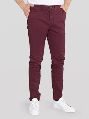 BURGUNDY MARCO FIT CHINO PANTS