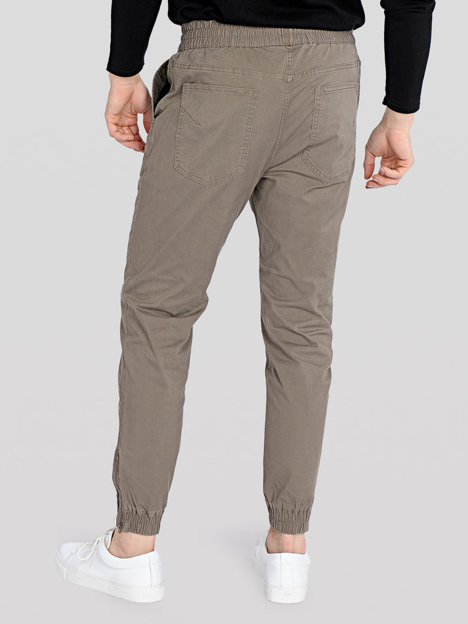 BASIC JOGGER PANTS WITH ZIPS Walnut