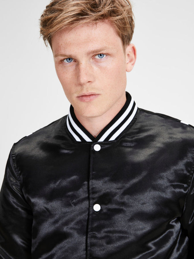 BOMBER JACKET WITH CHECKERED LINING Black