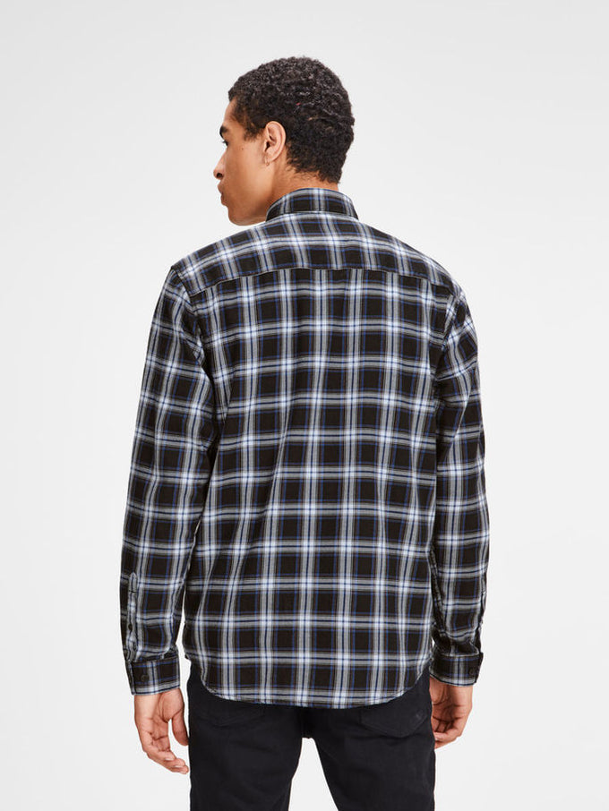 CHECKERED SHIRT WITH BUTTONED POCKETS Black