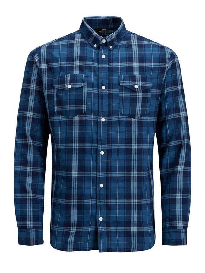 CHECKERED SHIRT WITH BUTTONED POCKETS Sky Captain
