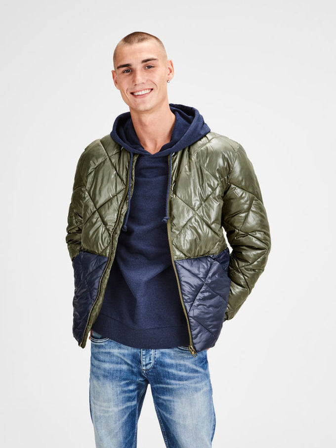 SHINY QUILTED JACKET Forest Night