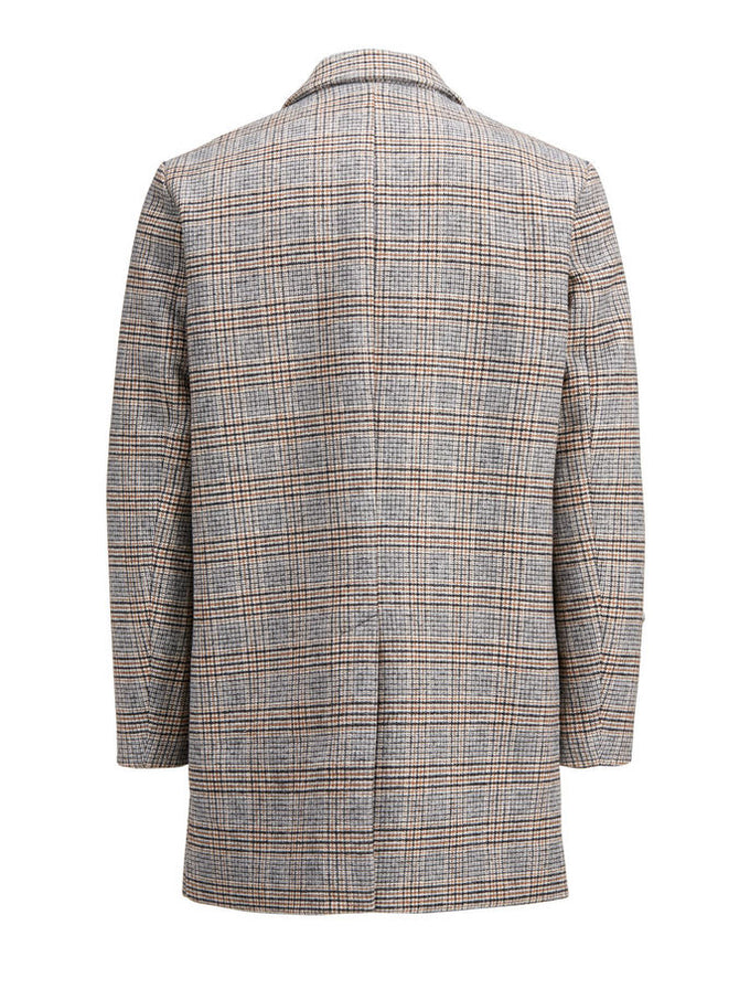 CHECKERED WOOL DRESS COAT Light Gray