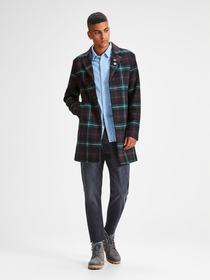 CHECKERED WOOL DRESS COAT Total Eclipse