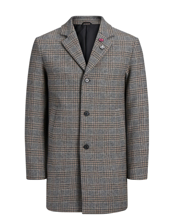 CHECKERED WOOL DRESS COAT Grey Denim