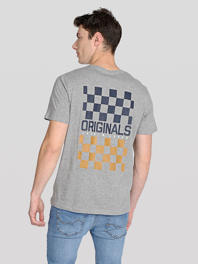 ORIGINALS T-SHIRT WITH CHECKERED DETAILS Light Grey Melange