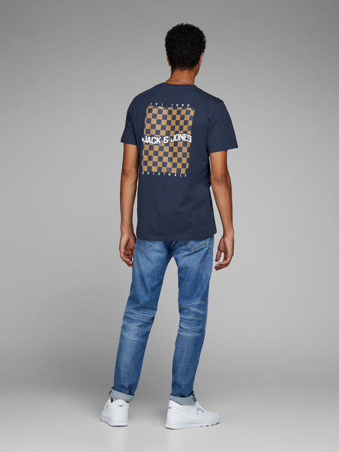 ORIGINALS T-SHIRT WITH CHECKERED DETAILS Total Eclipse