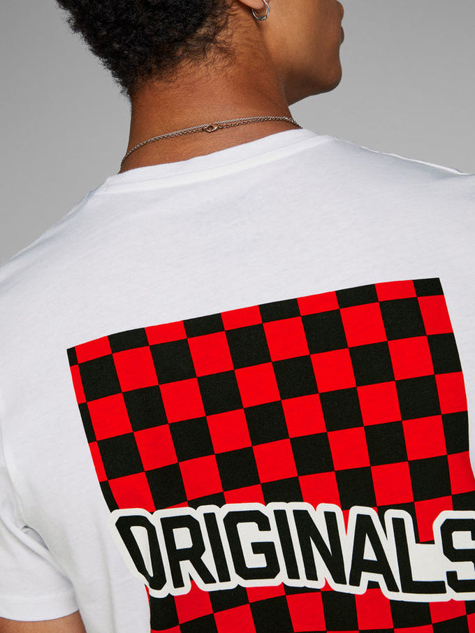 ORIGINALS T-SHIRT WITH CHECKERED DETAILS White