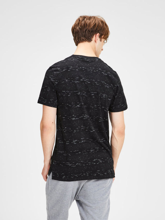 HIGH-LOW T-SHIRT WITH PATTERNS Black