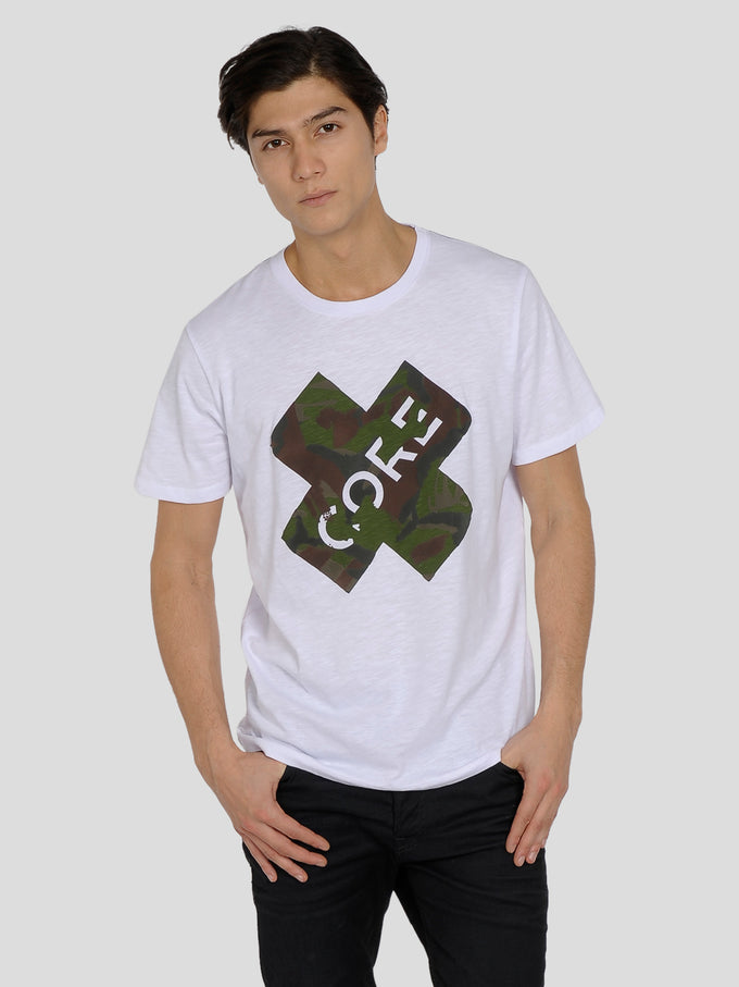 CORE T-SHIRT WITH CAMO PRINT White