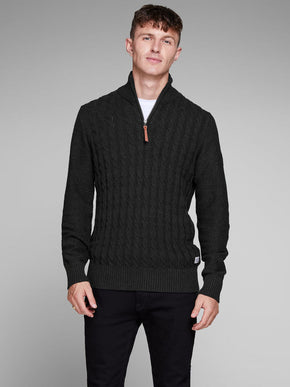 HALF-ZIP CABLE KNIT SWEATER