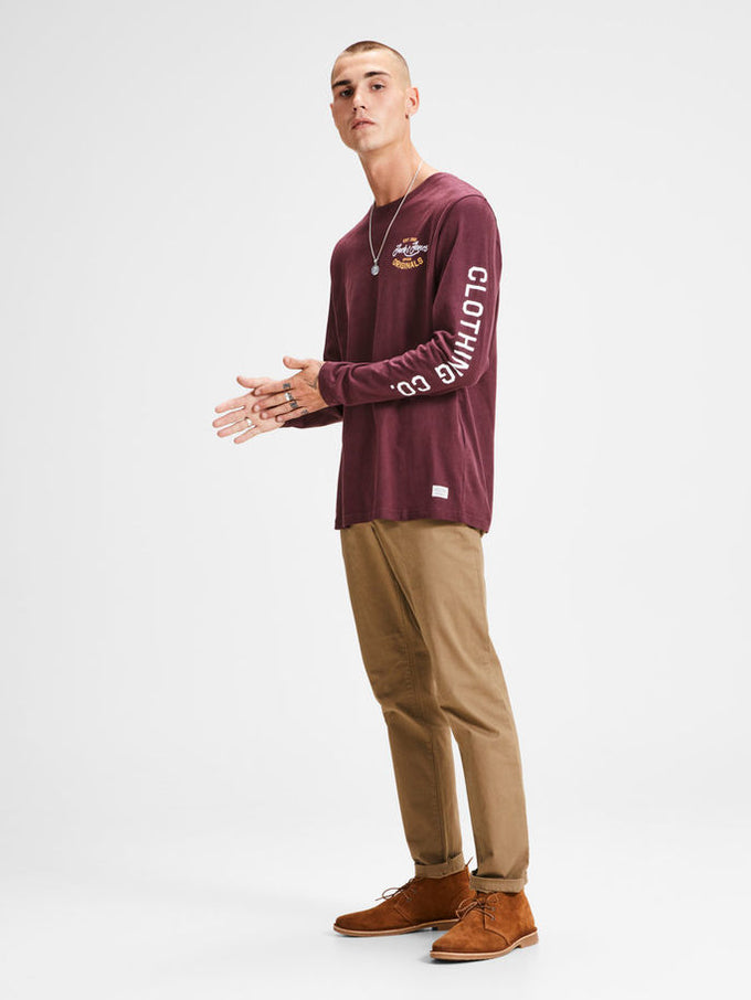 LONG SLEEVE T-SHIRT WITH PRINTED SLEEVES Port Royale