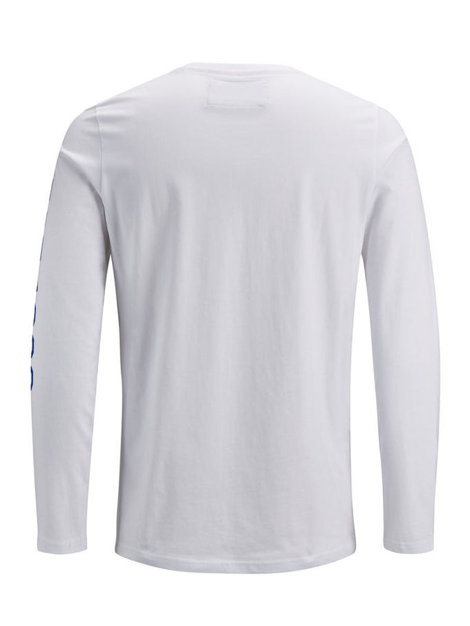 LONG SLEEVE T-SHIRT WITH PRINTED SLEEVES White