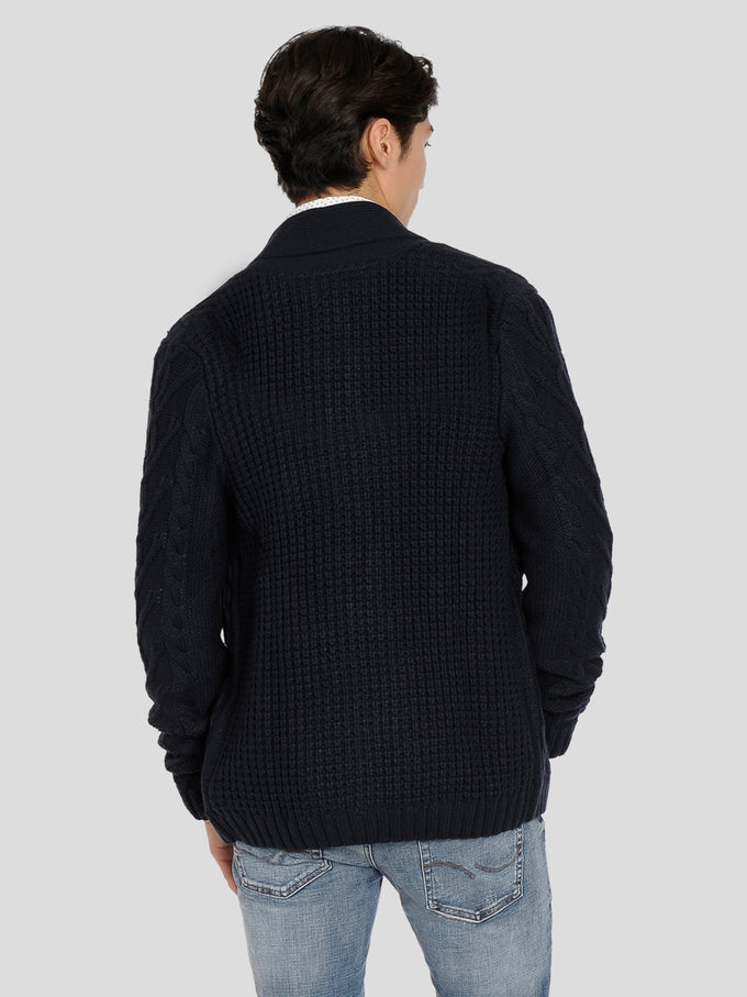 CABLE KNIT CARDIGAN Total Eclipse